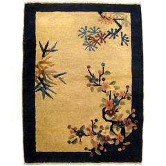 Antique Chinese Peking Oriental Rug, in Small Size, with Tree and Flower Motifs