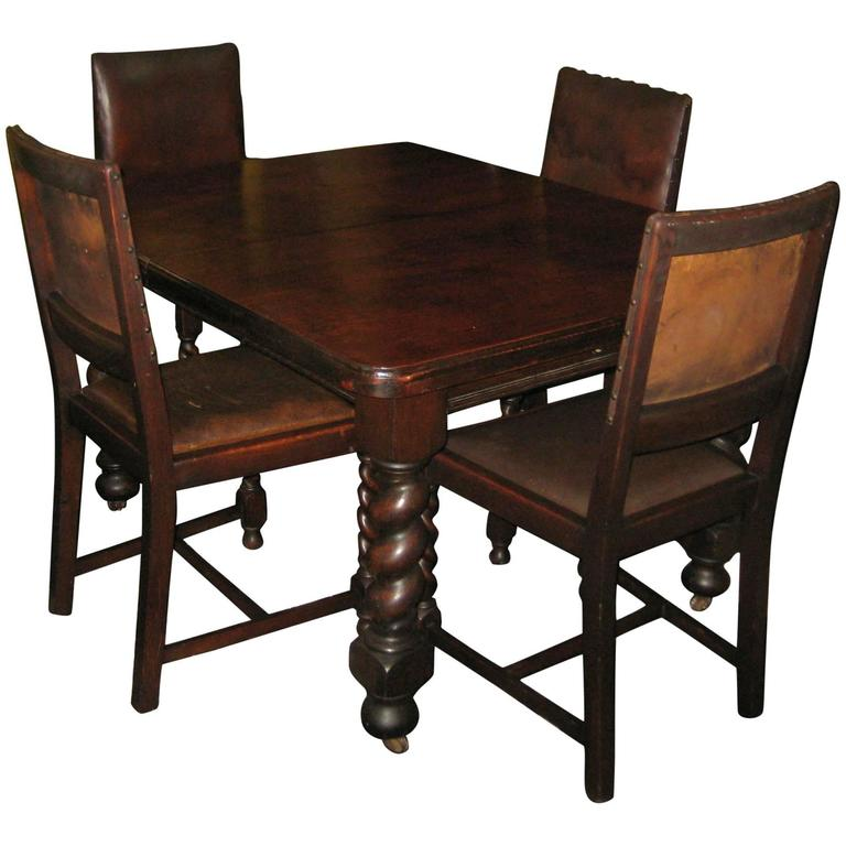 Antique English Oak Pub Table And 4 Chairs Dining Set For: 19th Century English Carved Oak Barley Twist Table And