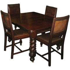 19th Century English Carved Oak Barley Twist Table and Four Chairs