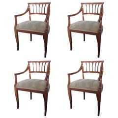 Set of Four Italian Arm Chairs, circa 1950