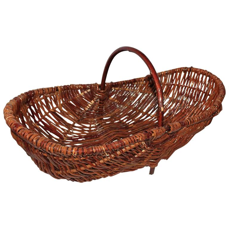 Monumental Hickory Gathering Basket For Sale