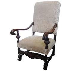 19th Century Jacobean Style Carved Walnut Armchair