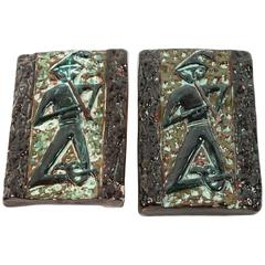 Pair of Mid-Century Italian Ceramic Door Pulls