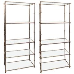 Pair of Chrome Etageres/Bookcases with Glass Shelves