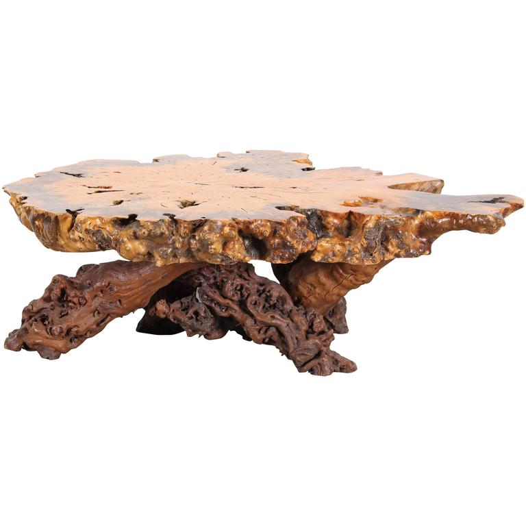 Vintage Rustic Freeform Tree Slab Coffee Table For Sale At: Burl Wood Nakashima Style Maple Slab Coffee Table, 1970s