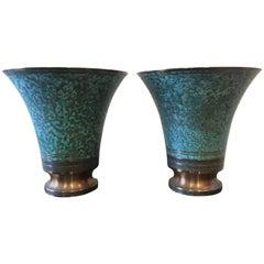 Pair of Bronze Art Deco Signed Carl Sorensen Verdigris Urns Vases