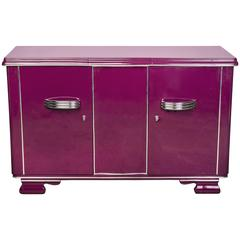 Posh Streamlined Art Deco Sideboard in Plum