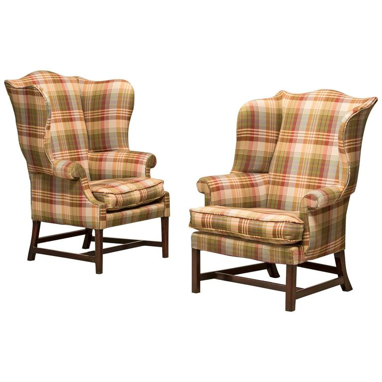 Pair of Chippendale Wingchairs Reupholstered with Fabric from Mulberry