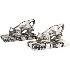 Art Deco Panther Bookends