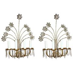 Pair of Crystal Flower Sconces