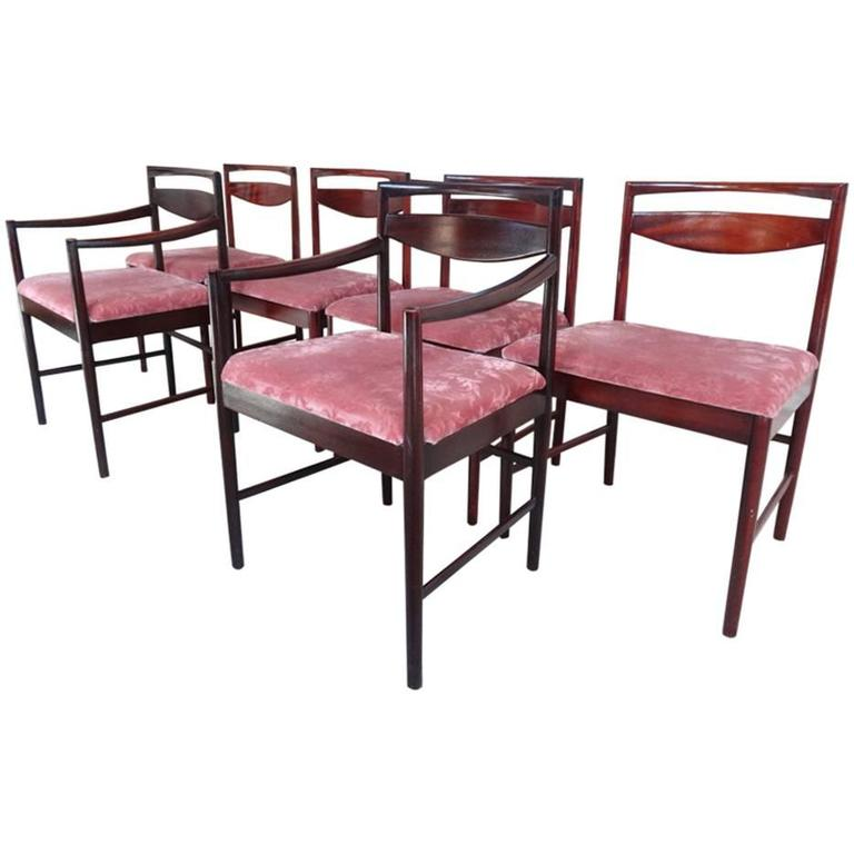 Mid century modern 1960 6x rosewood mcintosh dining chairs for 6 x dining room chairs