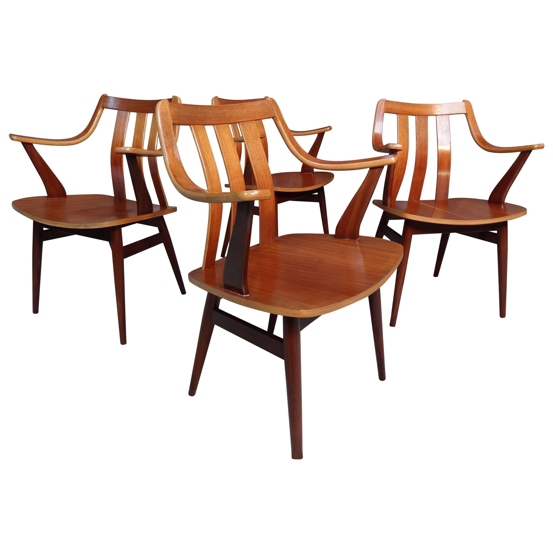 Mid-Century Modern 1960, Four Teak Designer Bentwood Chairs