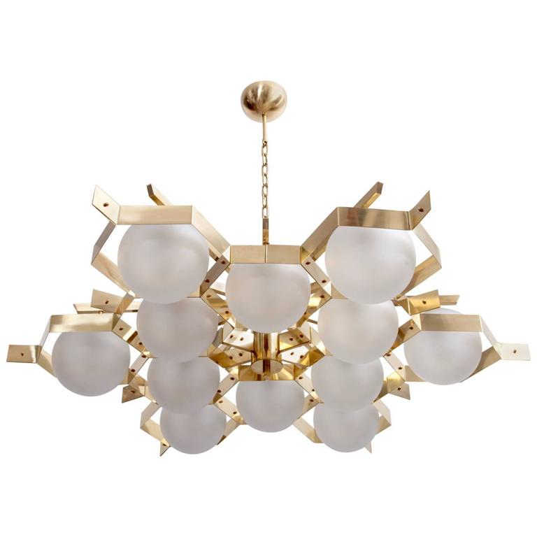 Monumental Brass and Glass Chandelier Attributed to Stilnovo For Sale