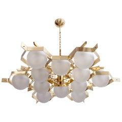 Monumental Brass and Glass Chandelier Attributed to Stilnovo