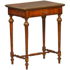 Mid-19th Century Napoleon III Lamp Table with Brass Inlays and Bronze Lists