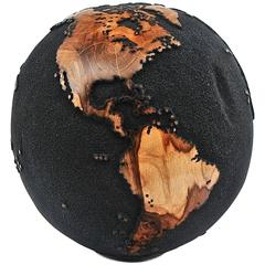 Black Wooden Globe from Teak Root Hand-Carved Rotative Base