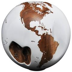 Wooden Globe from Teak Root Hand-Carved Rotative Base