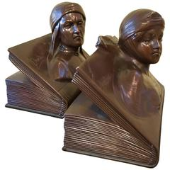 Pair of Bookends with Beatrice and Dante