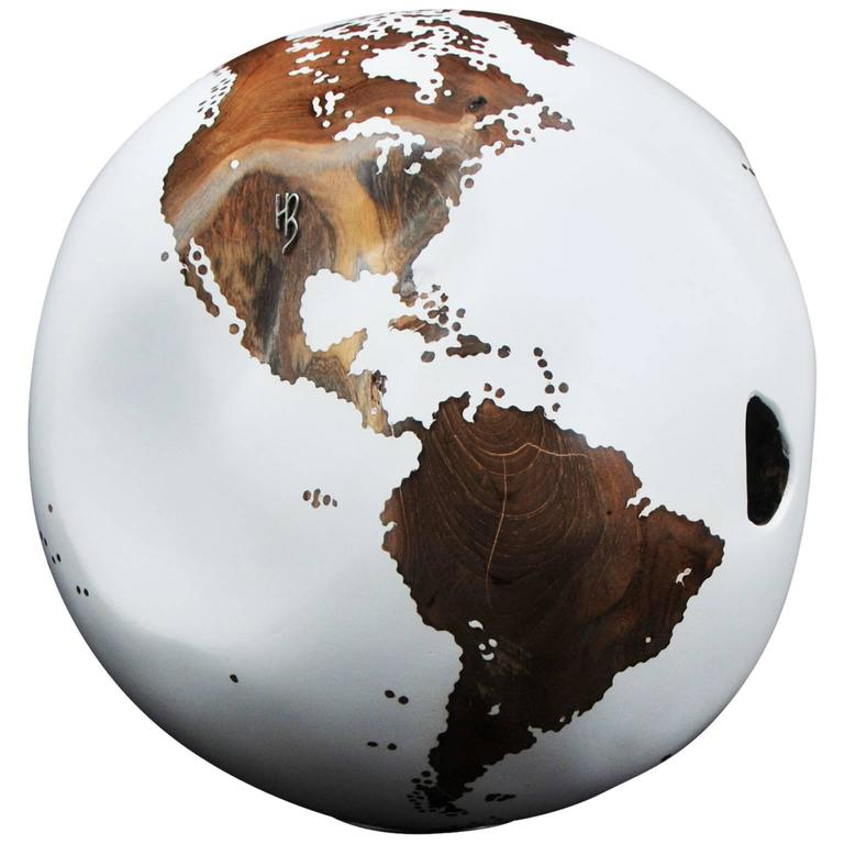 Wooden Globe White Hand-Carved from Teak Root Rotative Base 1