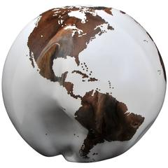 Wooden Globe White Hand-Carved from Teak Root Rotative Base