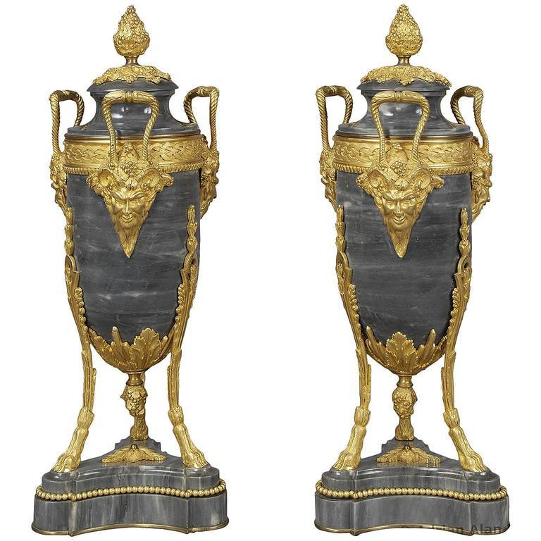 Fine Pair of Louis XVI Style Gilt Bronze-Mounted Bleu Turquin Marble Urns