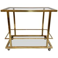 Bar Cart in Brass with Bottle Holder