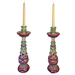 "Tall Pair Masterwork Hand Blown Colorful Glass Candle holders, 18"" Ferro 1950"