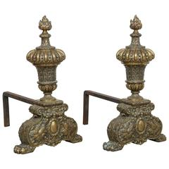 Pair of Large-Scale Georgian Revival, Neoclassical Brass Fireplace Andirons