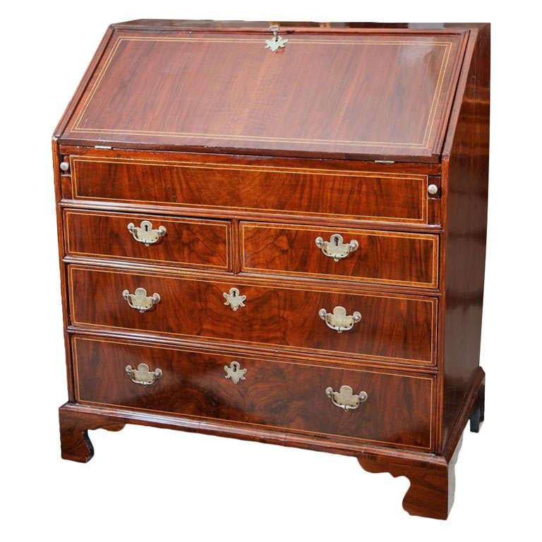 English Walnut Slant Front Bureau/Desk with String Inlay For Sale