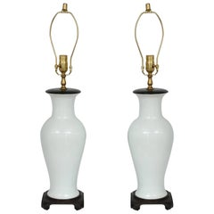 Pair of Blanc de Chine Vase-Form Table Lamps, Hong Kong, 1960s