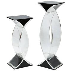 Set of Two Pedestals in Clear and Black Lucite, American, 1980s