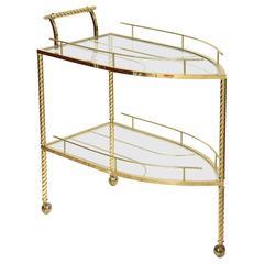 Hollywood Regency Style, Boat-Shaped, Polished Brass Bar Cart, Italy, 1960s