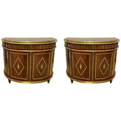Pair of Russian Neoclassical Demilune Commodes / Consoles in the Style of Jansen