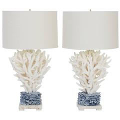 Inspired Pair of Blue and White Staghorn Coral Table Lamps