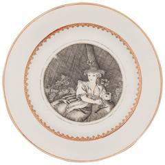 Chinese Porcelain Plate Decorated in Grisaille with a Shepherdess, 18th Century