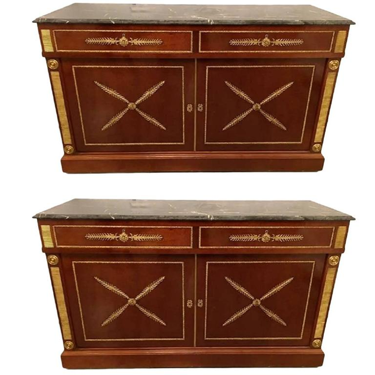 Pair Of Maison Jansen Russian Neoclassical Style Cabinets or Commodes Marble Top