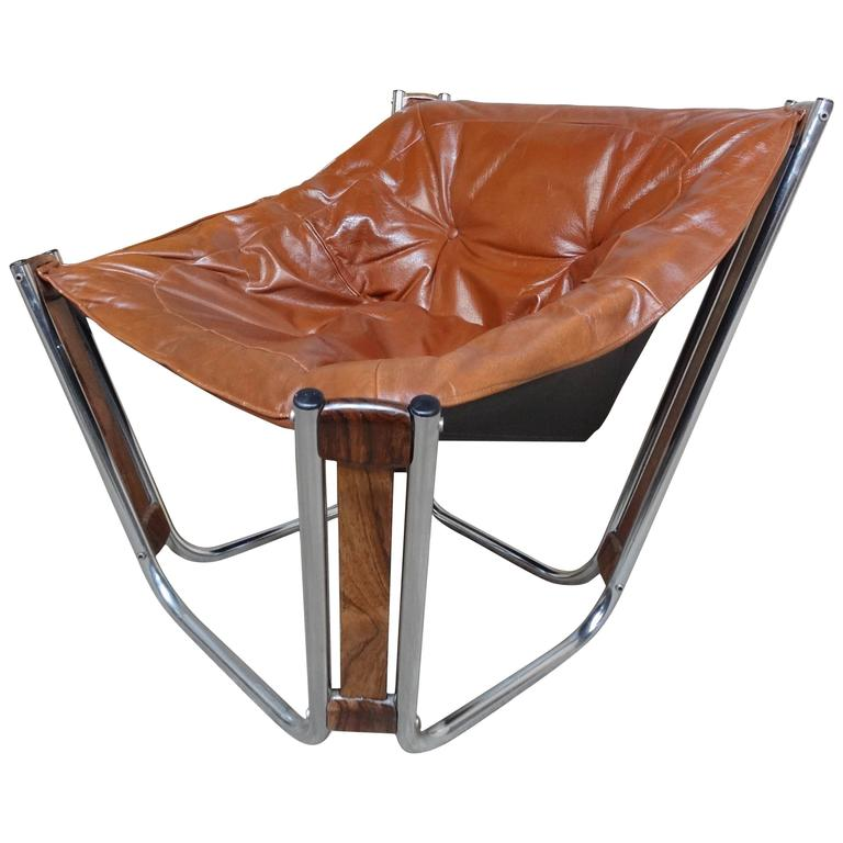 Sought After Brown Leather Chrome Rosewood Slingback Relling Lounge Chair For