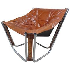 Sought After Brown Leather Chrome/Rosewood Slingback Relling Lounge Chair