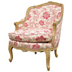 20th Century Finely Carved French Louis XV Style Bergere Lounge Armchair
