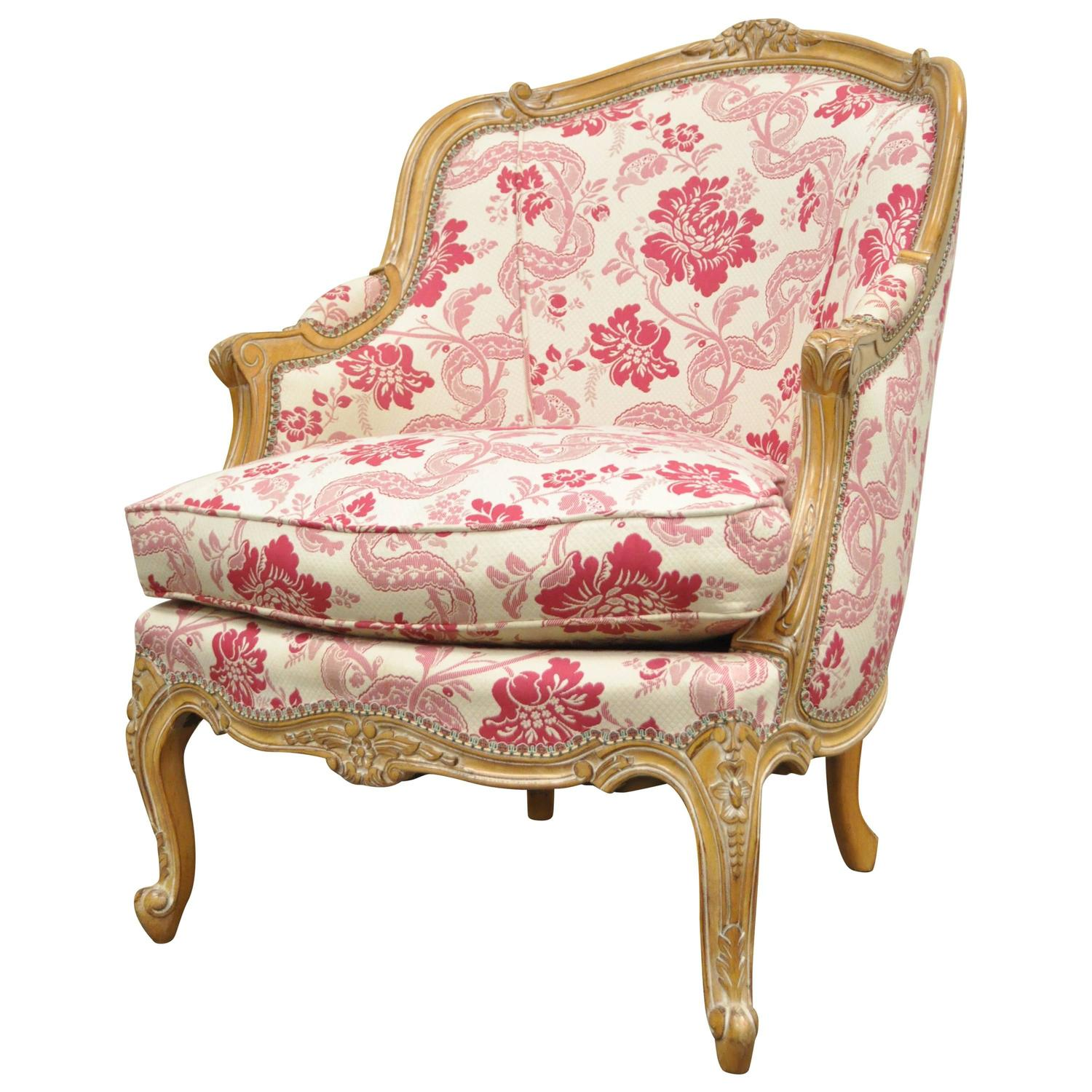 20th Century Finely Carved French Louis XV Style Bergere Lounge
