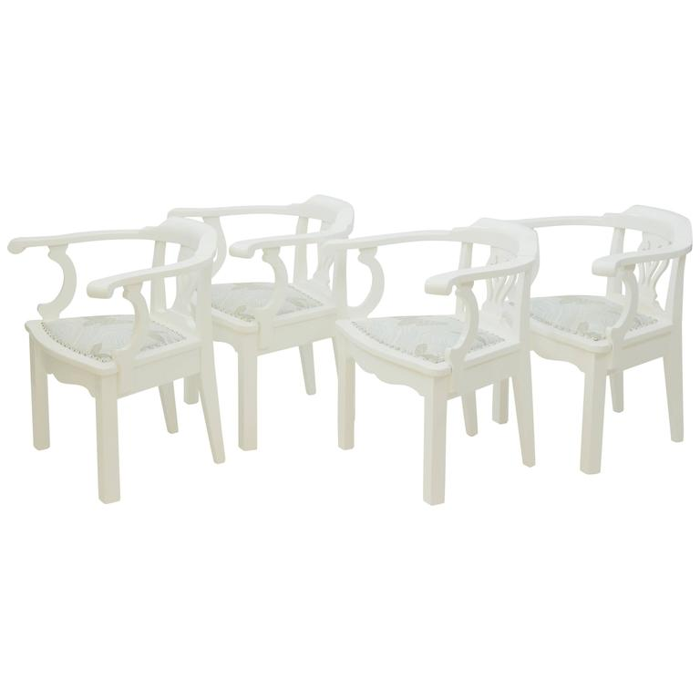 Two Pairs of Chippendale Style Pull Up Chairs For Sale