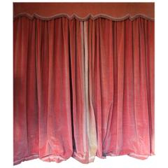 Pair of Pink Velvet Drapes with Valance