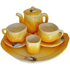 French Provencal Faience, Cicada Five-Piece Cafe-au-Lait Set by Sicard