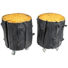 Rustic Burnt Black Wood Log Side Table/Coffee Table with or without Casters