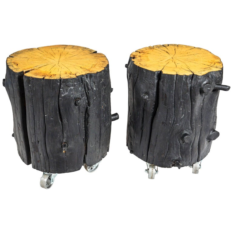 Rustic Burnt Black Wood Log Side Table/Coffee Table with or without Casters For Sale