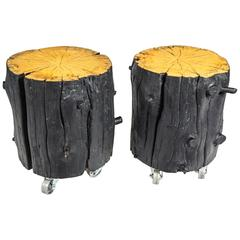 Shou Sugi Ban Black Sided Wood Log Table with Casters