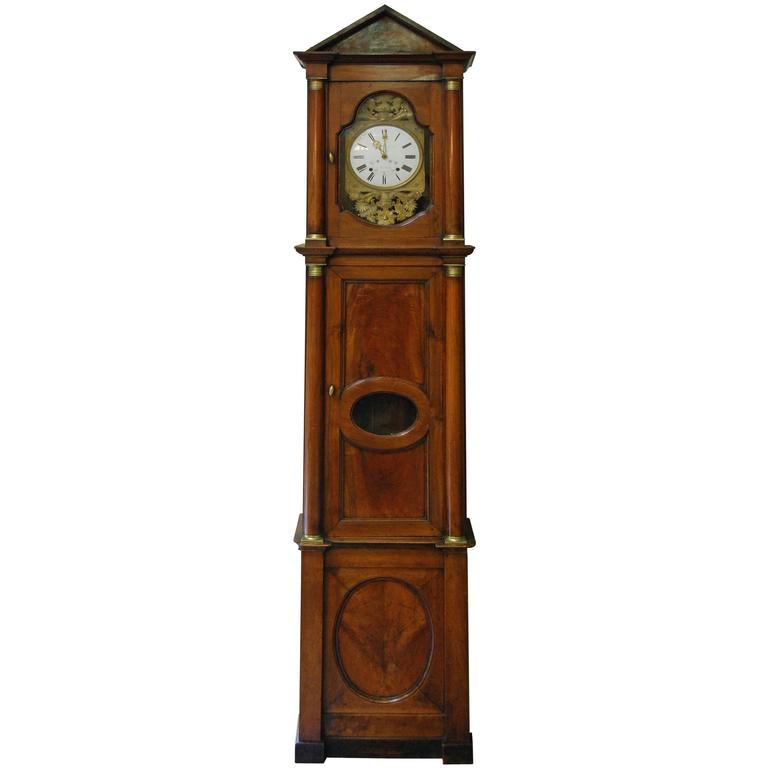 Early 19th Century French Empire Walnut Case Clock For Sale