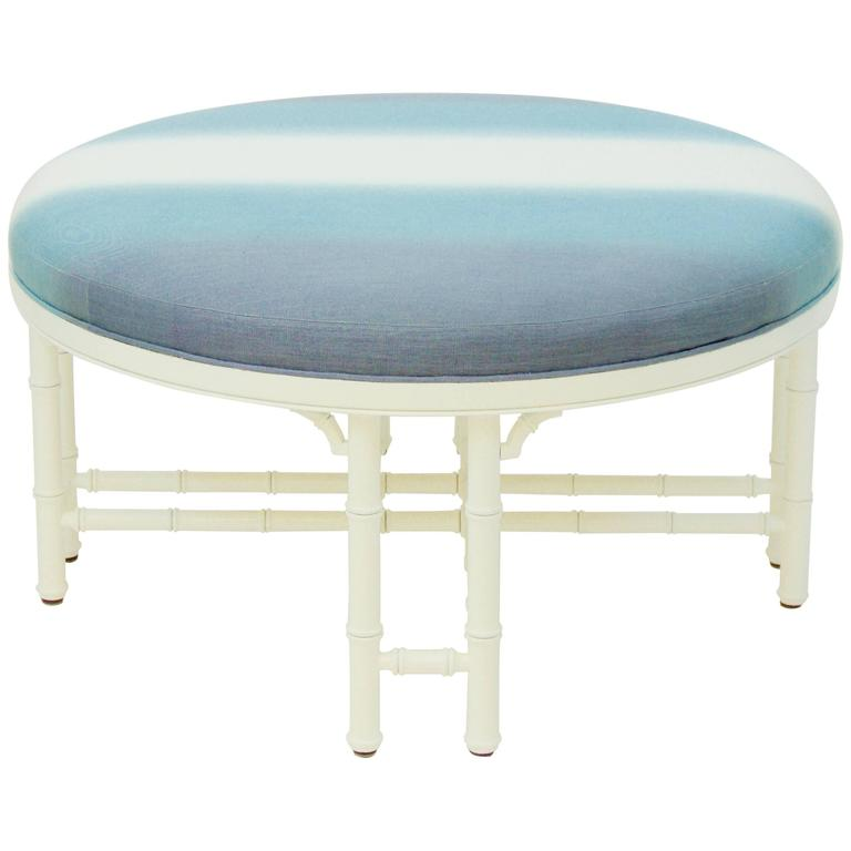 Vintage Round Ottoman With Faux Bamboo Detailing At 1stdibs