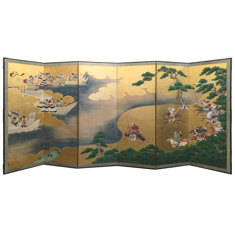 18th Century Japanese Battle Screen For Sale