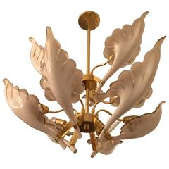 Italian Murano Mid-Century Two-Tier Brass Chandelier